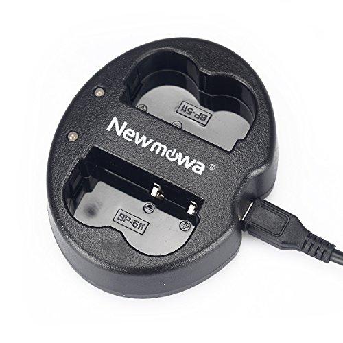 Newmowa USB Cargador Doble para Canon BP-511 BP-511A Canon EOS 5D 10D...