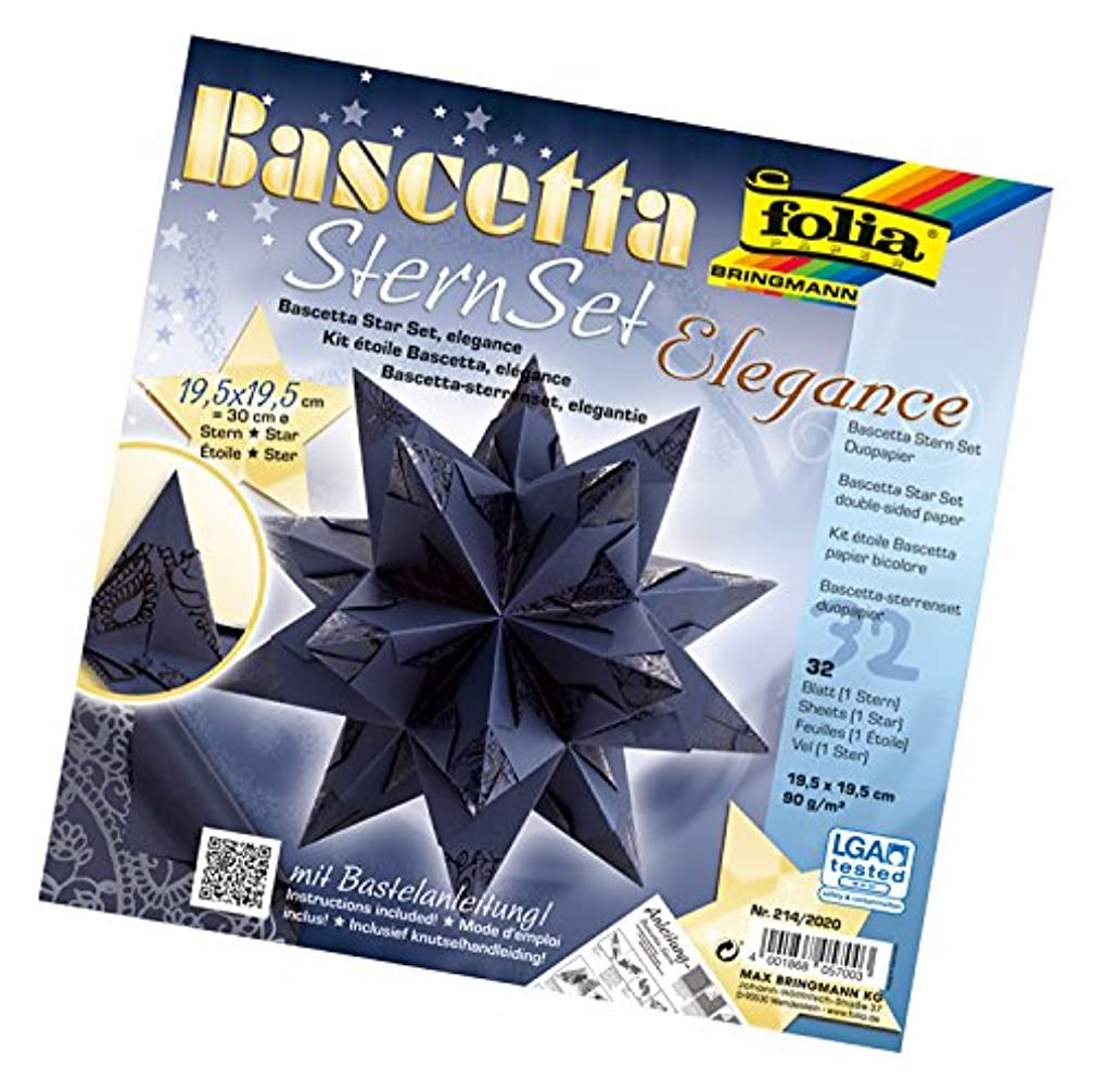 Folia 836/3030?Bascetta Star Handicraft Set, Blue, Card, Blue, 19,5 x 19,5 cm