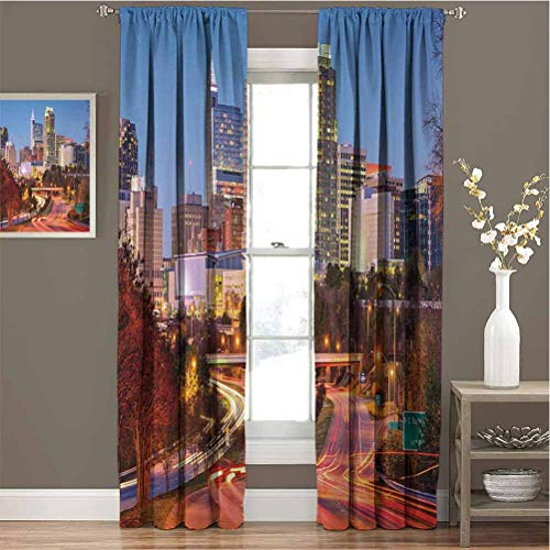 GUUVOR United States Room Darkened Heat Insulation Curtain Raleigh North Carolina USA Express Way Business District Building Skyscrapers Living Room curtainsW63 x L72 Inch Multicolor
