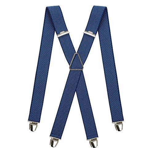 pierrot - Tirantes para Hombre - 29 Colores - Garanta de por vida - 100% francs (Bleu marine points)