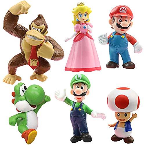 SZWL Decoración para tarta de Super Mario Brothers, 6 piezas de decoración para tarta de cumpleaños de animales de dibujos animados de Super Mario, el mejor regalo para niños.