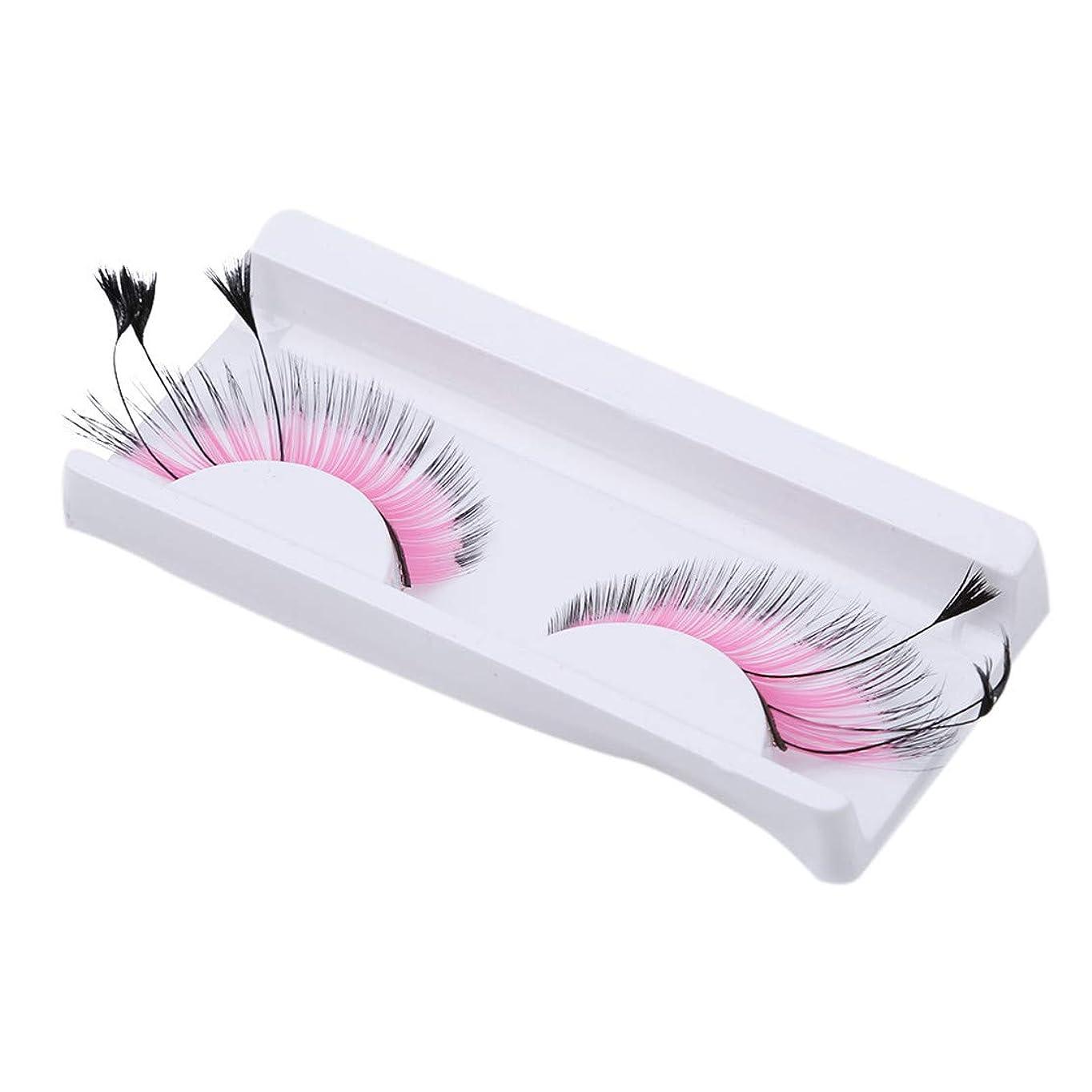 耐えられる六分儀積極的にBotreelife つけまつげナチュラル太くて長い偽のまつ毛エクステメイクアップツール、ローズピンク
