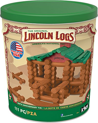 LINCOLN LOGS –100th Anniversary Tin-111 Pieces-Real Wood Logs-Ages 3+ - Best Retro Building Toy...