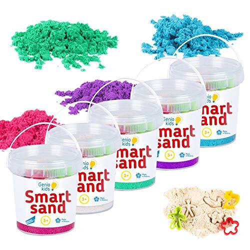 GenioKids - Set di sabbia per giochi cinetici, 5 colori, 750 g, colore: sabbia