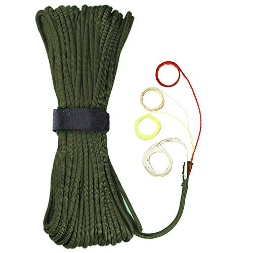 WILDAIR Survival Paracord Parachute Fire Cord Survival Ropes 4in1 25Ft 5/32quot Diameter US Military Type III with Integrated Fishing Line FireStarter Tinder Army Green 25FT