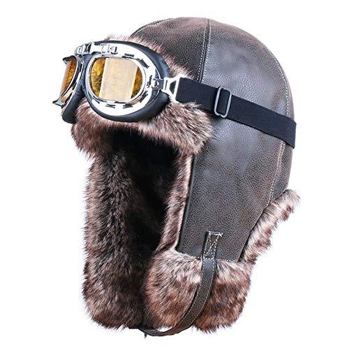 XCLWL Russen muts heren retro heren bomber hoed oorbeschermer pilot catcher jacht cap winter sneeuw ski cap veiligheidsbril