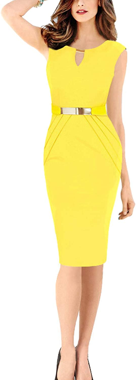 Zabmauek Womens Sleeveless Knee Length Office Formal Pencil Dress with Belt