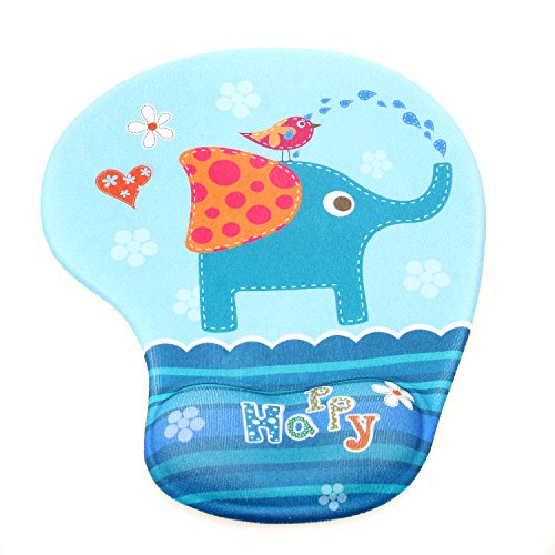 TUKA polssteun muispad ergonomisch, met gel gevulde polsonderlegger, dierenmotief gel muismat handsteun, verschillende grappige cartoon motieven, TKC5100 olifant