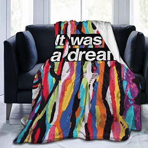 Manta ultra suave de microforro polar, duradera, con texto en inglés 'It Was All A Dream', suave y cálida, para cama, cama, sofá, oficina, sala de estar, decoración del hogar, 152 x 122 cm
