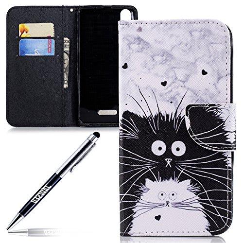 JAWSEU Phone Case Wiko Lenny 4 Plus Cases PU Leather Portefeuille Flip Case Cover veer vogel patroon, Zwart wit kat