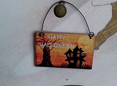 Mini signo de Halloween en miniatura HAPPY HALLOWEEN Spooky House