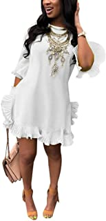Women Summer Short Sleeve Round Neck Ruffles Hem Loose Midi Mini Dresses Casual Plus Size