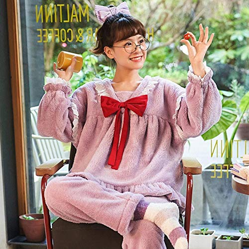 ASADVE Pijamas Mujer otoño e Invierno Coral Terciopelo Engrosamiento más Terciopelo Cuello Cuadrado Traje de Servicio a Domicilio-SG_P-819