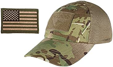 Condor Multicam Mesh Tactical Cap & USA Flag Patch Stitching & Excellent Fit for Most Head Sizes