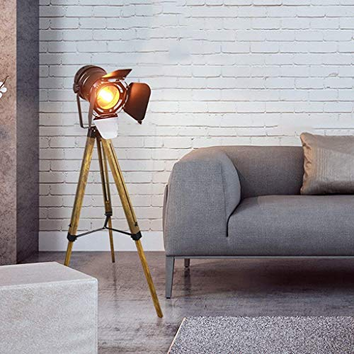 CLJ-LJ Moderna lámpara LED Living Room Floor Lamp Vintage Industrial de madera Trípode bombilla estándar para habitación Restaurant