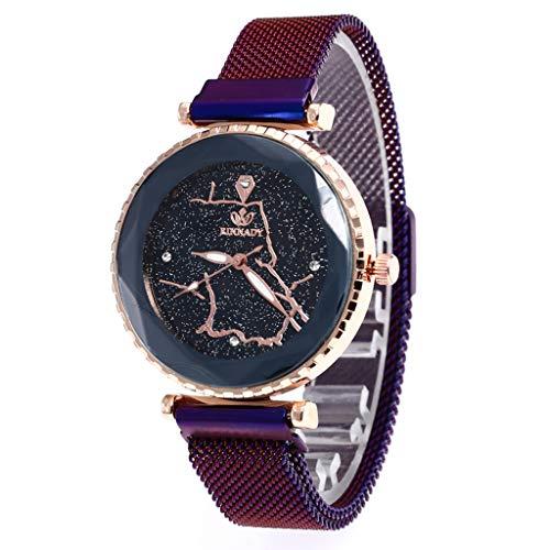FSWH LT Armbanduhr mit Stern, für Karten, Dressur-Tisch, Stern-Armbanduhr, Quarzuhr, Schnittscheibe, Zifferblatt Mehrfarbig violett