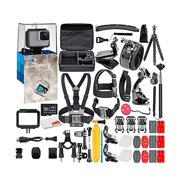 GoPro HERO7 White – Waterproof Action Camera with Touch Screen, Full HD Video, 10MP Photos, and Stabilization – with 64GB Micro Sd Card and 50 Piece Accessory Kit – Fully Loaded Bundle (Renewed)