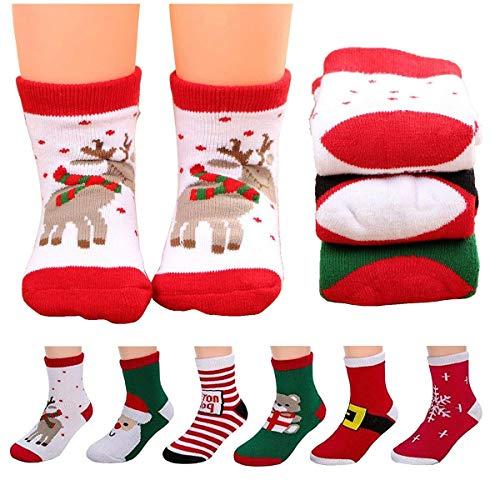 Calcetines de Navidad para niños, calcetines gruesos y cálidos, unisex, de algodón, bonitos calcetines de Navidad, regalo de Navidad, calcetines para bebé y bebé, 6 pares
