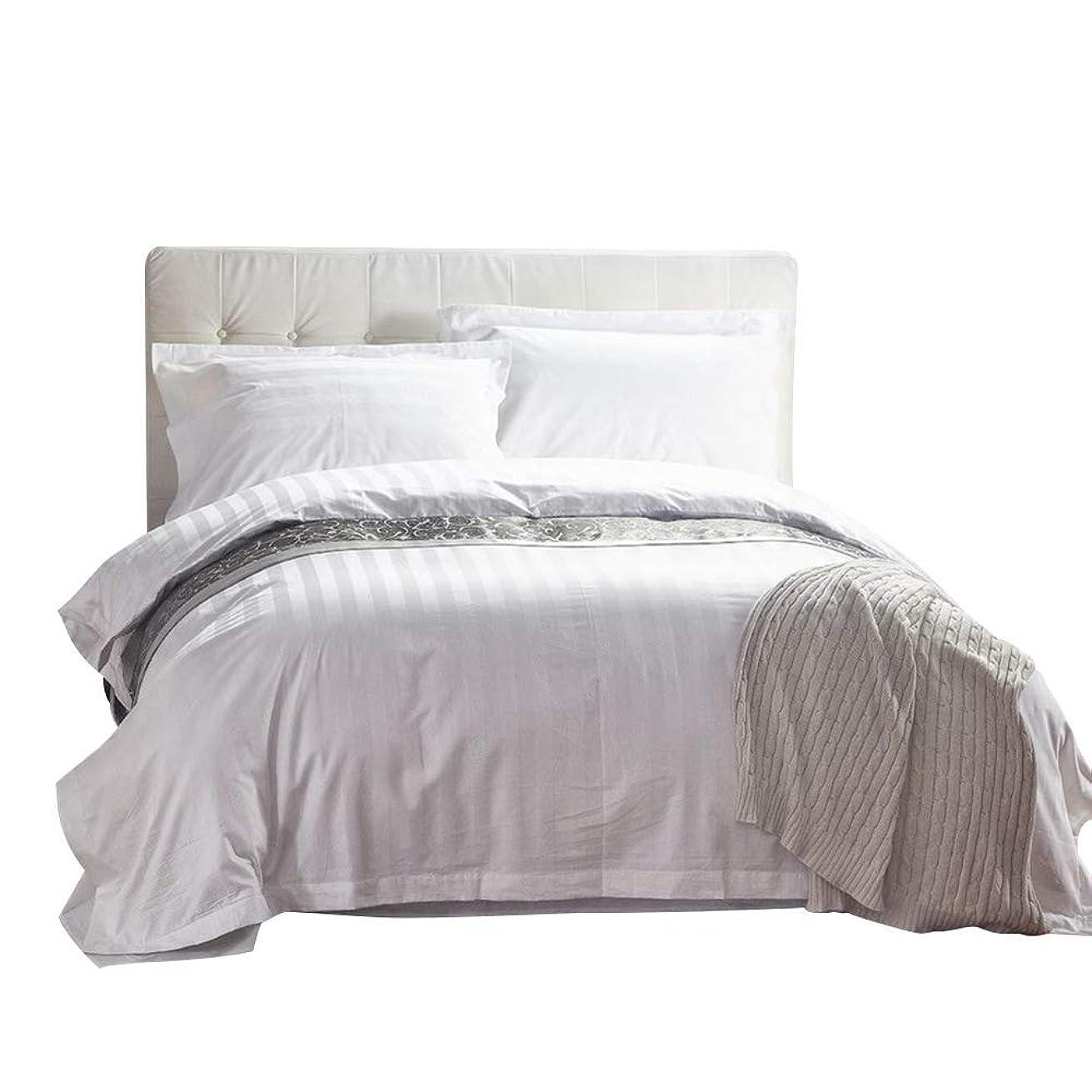 近所のドック大事にするVeroMan 綿100% ホテル仕様 フラットシーツ 布団カバー まくらカバー 寝具カバーセット ホワイト(ストライプ入り) ダブル