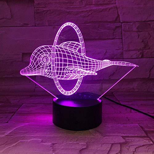 Nachtlampje circus leuke dolfijn 3D LED-lamp illusie LED nachtlampje 7 kleuren tafeldecoratie verlichting voor kinderen zelf cadeau of vrienden