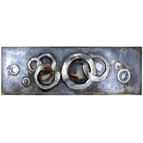mosa designs Metallbild 3D Wandbild Silber Ringe Modern Deko Abstrakt 150x50cm