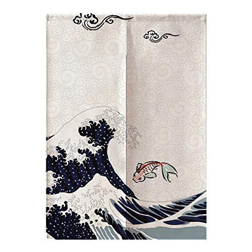 HERCHR Separador de Puerta de Estilo japonés, Tapiz de Cortinas de Puerta Cortinas de Medio sombreado para decoración de Entrada de hogar o Restaurante, 85x120cm
