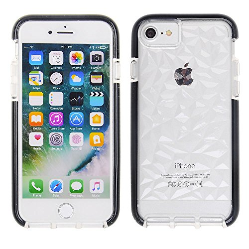 Cube Apple iPhone 8 Plus/7P/6S P/6P, Scratch-Proof and Shock Resistant Clear Rock TPU Cover with Black Bumper