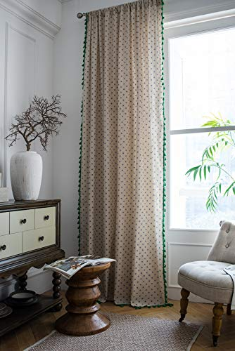 Bohemian Window Curtain Panels, Blue Daisy Printing Curtains with Green Tassels, Linen Cotton Semi-shading, Rod Pocket Window Treatment for Bedroom/Living Room/Farmhouse, Flaxen, 52×84 inch-2 Panels