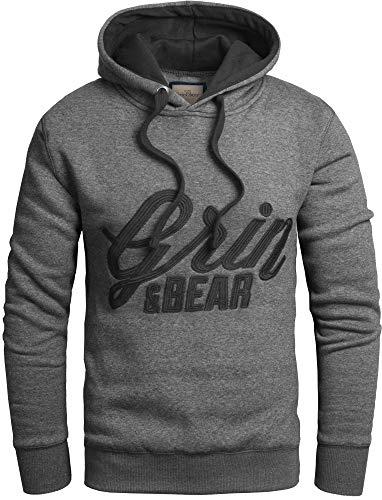 Grin&Bear Slim fit Signatur Logo Jacke Kapuze Hoodie Sweatshirt Kapuzenpullover, anthrazit, L, GEC469