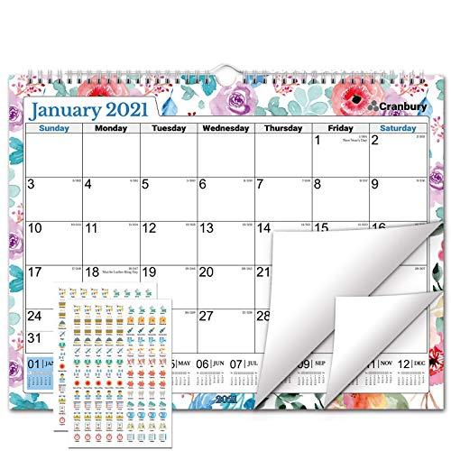 "CRANBURY Wall Calendar 2021 15x12"" - (Floral), Big Wall 2021 Calendar, Use to December 2021, Flowers Calendar Includes Stickers for Calendars"