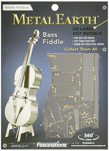 Fascinations Metal Earth MMS081 - 502734, Bass Fiddle, Konstruktionsspielzeug, 1 Metallplatine, ab 14 Jahren