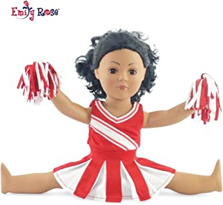 Emily Rose Doll Clothes Fit American Girl Doll - Red Cheerleader Outfit - 18 Inch Clothing with 18