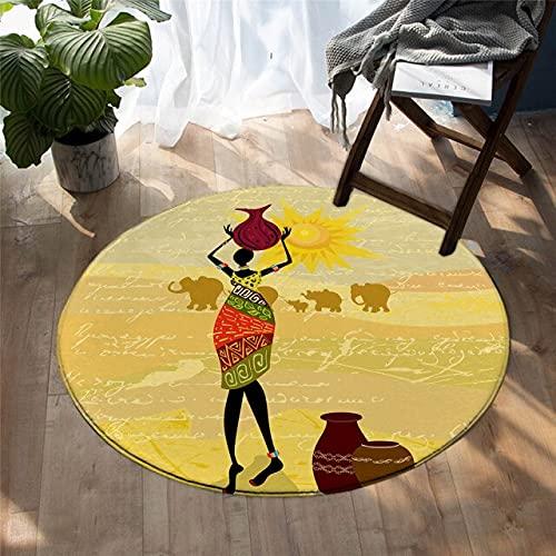 Alfombra Redonda, Celebración Retro Africana Del Carnaval 3D Adecuado Para La Sala De Estar, La Decoración Del Hogar, La Habitación De Los Niños, La Alfombra Redonda De 160 Cm De Diámetro / 696