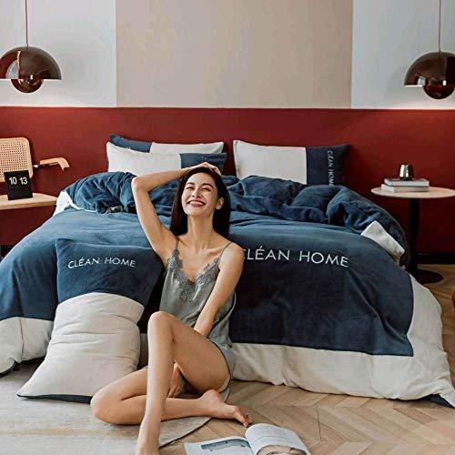 Bedding-LZ Juegos de sábanas 105 x 190,Funda nórdica de Lana de Franela Funda de Cama de Lana Gruesa para bebé Funda de Almohada de Lana Sábana de 2,0 m (4 Piezas)