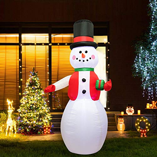 8 Feet Tall Christmas Inflatable Snowman LED Light Up Giant,Self-Inflatable Lighted Airblown Greeting Snowman Perfect for Waving Blow Up Yard Decoration, Indoor Outdoor Yard Garden Party Favo(Snowman)