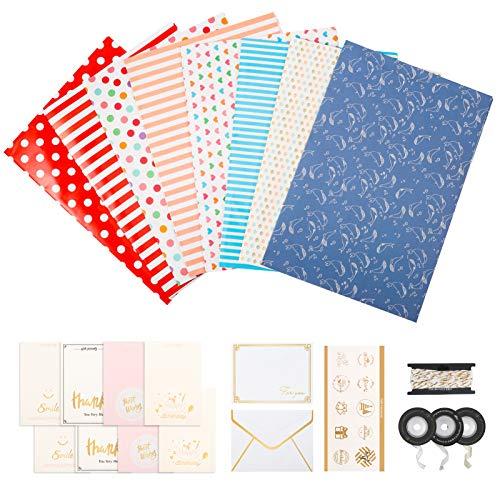 Xinstroe Geschenkpapier, 29er Packung Geschenkverpackungsset Enthält Bandaufkleber Grußkarten Umschläge Geschenkverpackung für Geburtstagsabschlüsse Hochzeiten Weihnachten 50CM X70CM