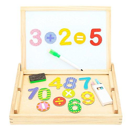 WOOMAX - Pizarra de madera doble y números magnéticos (ColorBaby 43624)