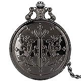 Reloj de bolsillo clásico con patrón de mayordomo negro para hombres, relojes de bolsillo de cuarzo con esfera blanca vintage para papá, reloj colgante de cadena áspera de aleación práctica para homb