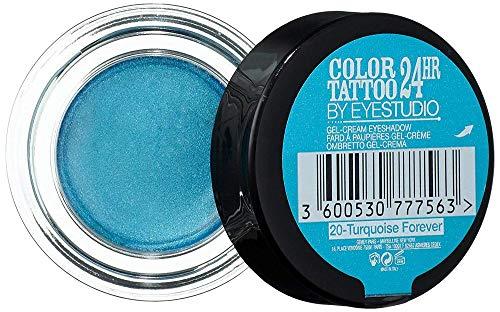 Maybelline New York Lidschatten Eyestudio Color Tattoo 24h Turquise Forever 20 / Gel-Cream Eyeshadow Türkis metallic, langanhaltend, 1 x 4 g