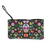 Bolsa de cosméticos de flores mexicanas con cierre de cremallera para el Día de los Muertos con correa para la muñeca