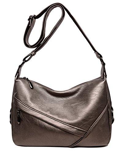Women's Retro Sling Shoulder Bag from Covelin, Leather Crossbody Tote Handbag Golden
