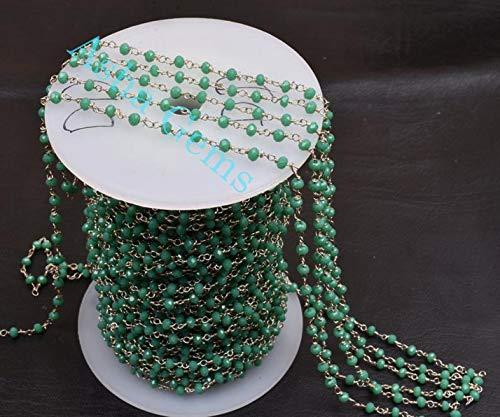 Shree_Narayani Cadena de rosario con cuentas de Rondelle, de color verde claro, de 3 a 3,5 mm, chapado en plata, para hacer joyas, cadena de 3 a 3,5 mm