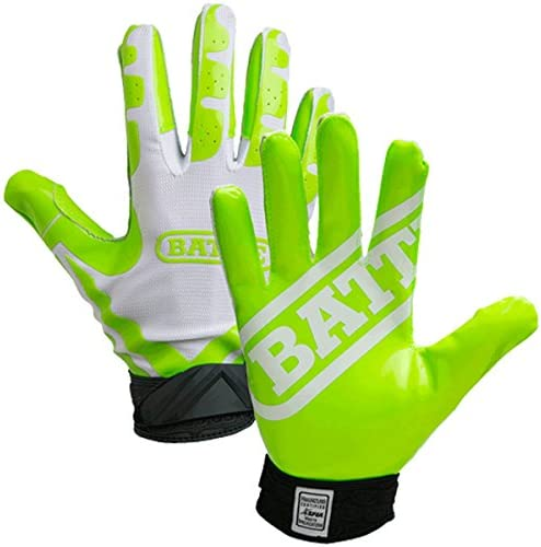 Battle Receivers Ultra Stick Football Gloves Small White Neon Green product image