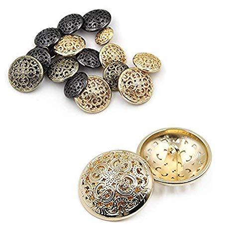 Wohlstand 50 Pcs Boutons en métal,de Manteau ou Costume en métal ajouré de Style rétro 15mm,pour Blazers, Vestes et Uniformes doré