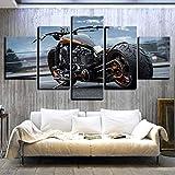 DAFFG Cuadro En Lienzo - 5 Partes - Formato Grande - Impresion En Calidad Fotografica - Cuadro En Lienzo Tejido-No Tejido - Neumático Grande Moto 150X80 Cm