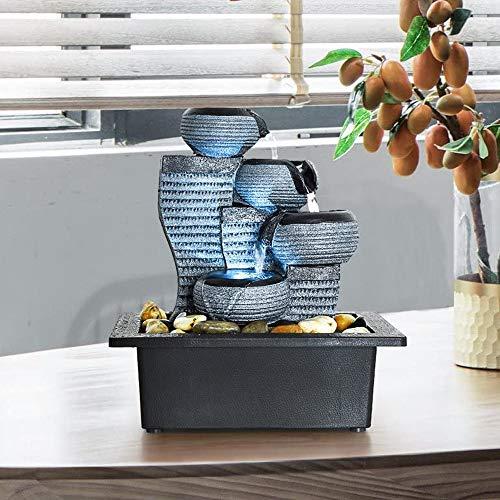 770 4-stufige Zimmerbrunnen Desktop-Wasserfontäne Tauchpumpe Innendekoration - 26 cm Tischdekoration Wasserfall-Kit - Beruhigende Entspannung, Zen Meditation Ambient Office Home