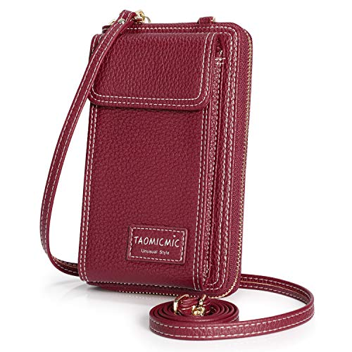 S-ZONE Crossbody Phone Bag for Women Small PU Leather Cellphone Purse Wallet Pouch with Long Shoulder Strap (Wine Red)