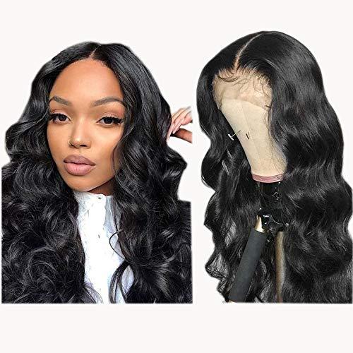 Lace Wig Cheveux Naturels Brésilienne Cheveux Humain Vrai 100% Grade 8A Perruque Lace Front 13x4 Swiss Lace Wig Bleached Knots avec With Baby Hair Perruque Naturel Ondule 22 pouce NIUDINNG