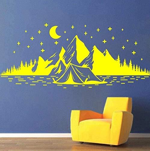 Pegatinas de pared Naturaleza Montañas Estrellas de la noche Vinilo para acampar para decoración de nevera Decoración del hogar Sala de estar 57X24 Cm