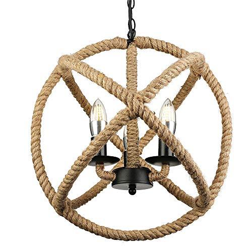 SUTIANZHANG Lámpara de Techo de Cuerda de cáñamo Retro Vintage Morden, lámpara de Bola de Cuerda de cáñamo de 3 Luces Lámpara Colgante de Estilo rústico Lámpara Colgante con Bombilla